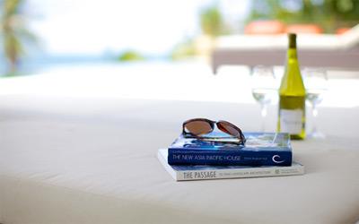Luxury, books, glasses, wine, swimming pool